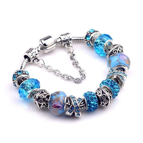 bijou bracelet gourmette neuf avec charms perles argent 925 tendance bleu turquoise. Black Bedroom Furniture Sets. Home Design Ideas