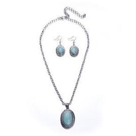 Bijou Suite Collier Boucle D'oreille Alliage Bleu Du Tib�tain Turquoise Gbn23 Xxlsmart