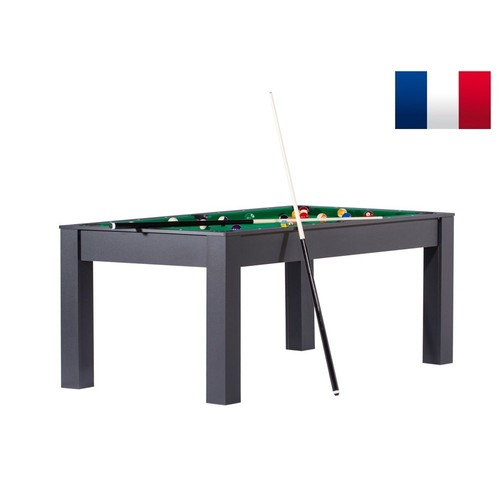 billard manhattan convertible en table manger couleur noire avec tapis vert. Black Bedroom Furniture Sets. Home Design Ideas
