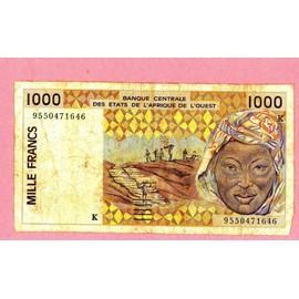 Billet De Banque Nota Banknote Bill 1000 Mille Francs Banque Centrale Des Etats De L'afrique De L'ouest