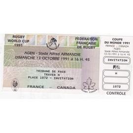 Billet entier non utilis invitation match de rugby france canada coupe du monde 1991 au - Billet coupe du monde de rugby ...