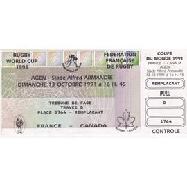 Billet entier non utilis rempla ant match de rugby france canada coupe du monde 1991 au - Billet coupe du monde de rugby ...