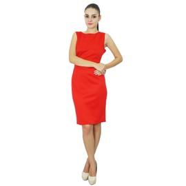 368d6e48d90 Bimba Femmes Classique Slim Fit Manches Formal Robe Mi-Longue