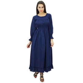 ae4af558806 Bimba Femmes Coton Smocks Taille Longue Maxi Robe Boho Chic Robes D ...