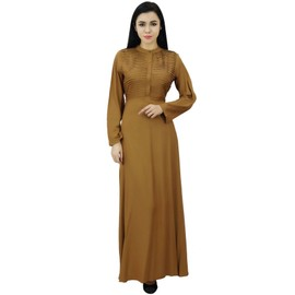 127b56d2f90a0 Bimba Femmes Manches Longues Maxi Mandarin Collar Uni Jilbab Robe Avec  Poches, Marron