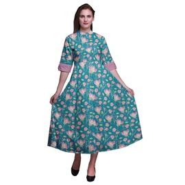 Robe Mi Manches Mollet Cambric Bimba Chemise Femme Imprimée Coton À AS5RjcL34q