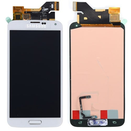 blanc lcd cran complet vitre tactile bouton home pour samsung galaxy s5 i9600 g900f outils. Black Bedroom Furniture Sets. Home Design Ideas