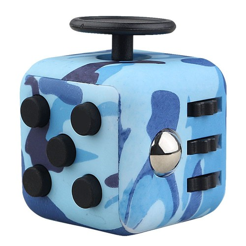 bleu mini fidget cube toy bureau jouets finger squeeze stress fun releveur anti stress. Black Bedroom Furniture Sets. Home Design Ideas