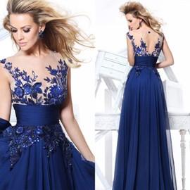 bleu robes de soir e 2015 nouvelle longue robe de mari e a