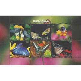 Bloc Sheet Papillons Butterfly Neuf ** Mnh - Djibouti 2011 Private / Local Issue