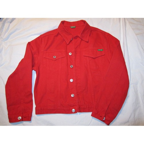 blouson benetton veste enfant rouge jeans 8 10 ans. Black Bedroom Furniture Sets. Home Design Ideas