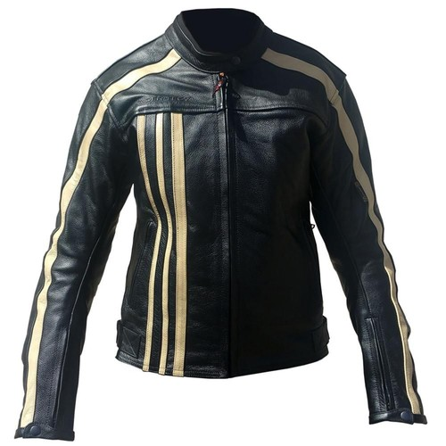 blouson moto cuir femme rider tec vintage noir beige achat et vente. Black Bedroom Furniture Sets. Home Design Ideas