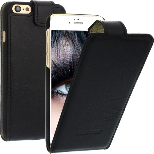 Blumax housse iphone 6 4 7 etui cuir veritable noir rst1 for Housse iphone 7 cuir