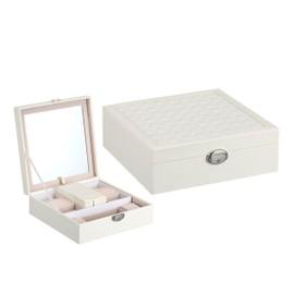 bo te bijoux noir coffret bijoux 2 plateaux bo te maquillage femme avec miroir pour. Black Bedroom Furniture Sets. Home Design Ideas