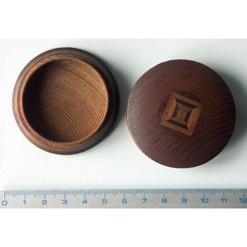boite ronde ou pilulier en bois avec marqueterie ou. Black Bedroom Furniture Sets. Home Design Ideas