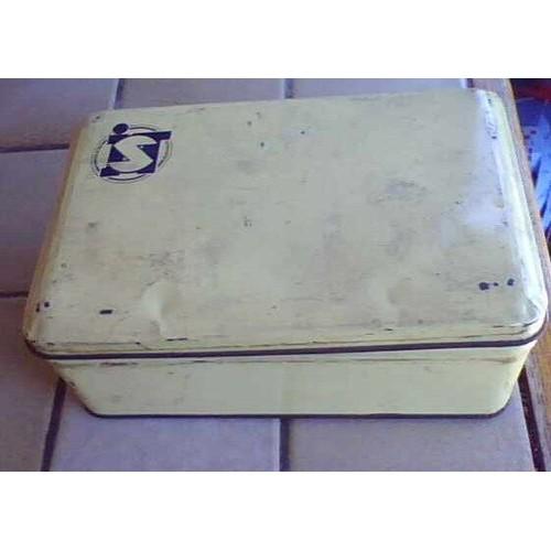 Boite vide en m tal ancienne marque i s t 07x 20cm environ ann es 60 jaune paille beige - Boite a the metal vide ...