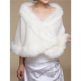 Bol ro ch le femme en fausse fourrure el gant pour - Chale blanc mariage ...