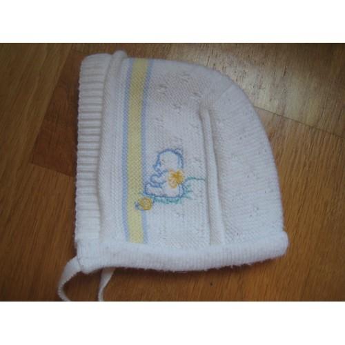 567f5babe09 Bonnet Bébé Naissance - 1 Mois Blanc Ttbon État Laine - Chaud