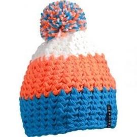 Bonnet Crocheté À Pompon , Mb7940 , Bleu , Orange , Blanc