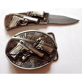 ef8fe108627 Boucle De Ceinture   Ceinturon Avec Couteau Intégré - Pistolet Guns En  Relief Gangs West Coast Choppers Customs ...