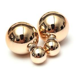 boucles d 39 oreilles boule double perles bijoux clou femme. Black Bedroom Furniture Sets. Home Design Ideas