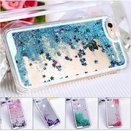 BPFY® Coque Iphone 5/5S/SE Transparente Etoiles et Paillettes Liquide BLEU