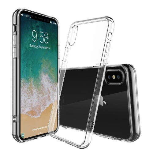bpfy coque silicone transparente pour iphone x 10 apple avec vitre de protection offerte. Black Bedroom Furniture Sets. Home Design Ideas