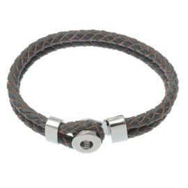 Bracelet Cuir Gris Pour Mini Bouton Pression Clips Interchangeable 20cm