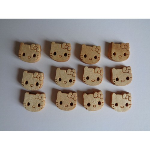 Lot de 10 boutons HELLO KITTY en bois