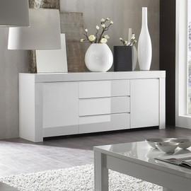 Buffet bahut blanc laqué 2 portes 3 tiroirs design PAULA