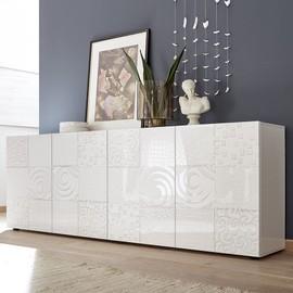 Buffet Blanc Laqué 240 Cm Design Elma, 4 Portes - Achat et vente