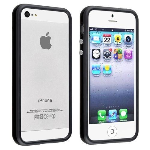 bumper iphone 5 5s coque noir slim plastique rigide souple silicone gel design. Black Bedroom Furniture Sets. Home Design Ideas