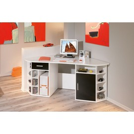 bureau d angle fabri blanc table informatique pc avec. Black Bedroom Furniture Sets. Home Design Ideas