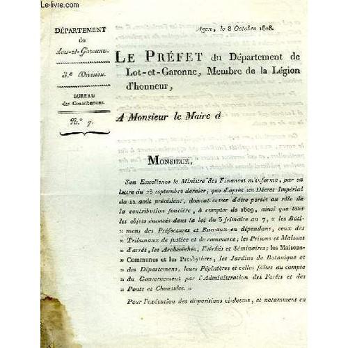 1 lettre imprim e n 7 du pr fet du d partement de lot et garonne baron de l 39 empire membre de - Bureau des contributions ...