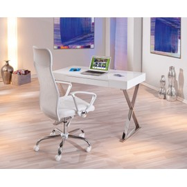 bureau grace table pc informatique meuble secr taire l gant mdf blanc brillant dim 1200x750x550. Black Bedroom Furniture Sets. Home Design Ideas