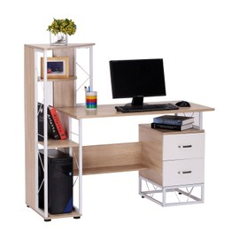 bureau pour ordinateur table meuble pc informatique avec biblioth que en mdfcouleur ch ne et. Black Bedroom Furniture Sets. Home Design Ideas
