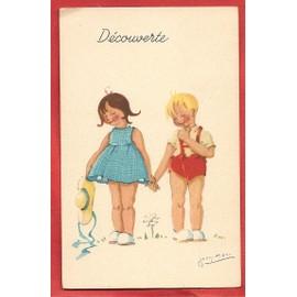 c p ancienne dessin sign d 39 une petite fille et d 39 un petit gar on se tenant la main en. Black Bedroom Furniture Sets. Home Design Ideas