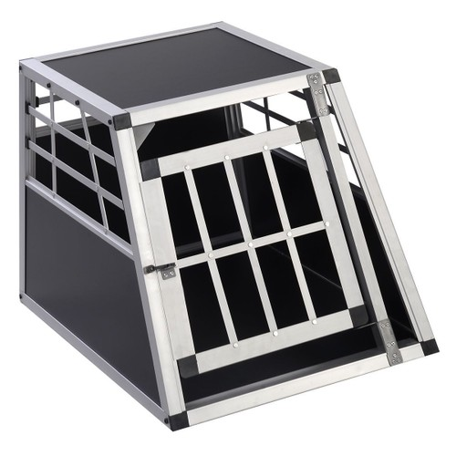 cage de transport pour chien en alu mdf 1 portes caisse de. Black Bedroom Furniture Sets. Home Design Ideas