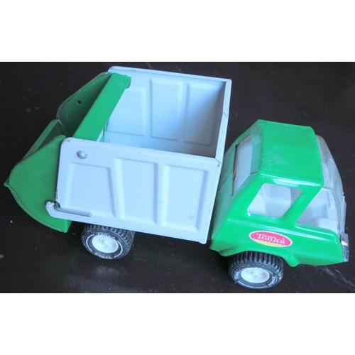 Camion benne poubelle en t le tonka vert et blanc achat et vente - Camion benne tonka ...