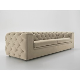 canap chesterfield capitonne woodrow modele 4 places cuir beige. Black Bedroom Furniture Sets. Home Design Ideas