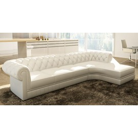 canap dangle blanc capitonn chesterfield avec mridienne - Canape D Angle Blanc