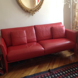 canap fauteuil cuir rouge vachette pleine fleur duvivier. Black Bedroom Furniture Sets. Home Design Ideas