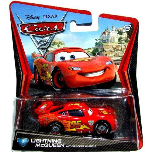 cars 2 disney pixar flash mcqueen with racing wheels 1 55. Black Bedroom Furniture Sets. Home Design Ideas