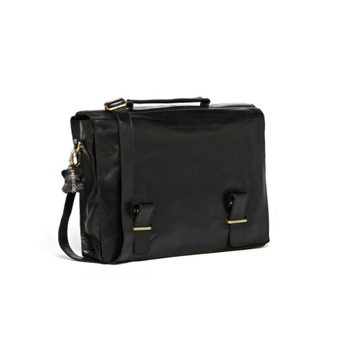 Cartable Pappudoc Gloss Black Leather Book Bag Cuir Noir