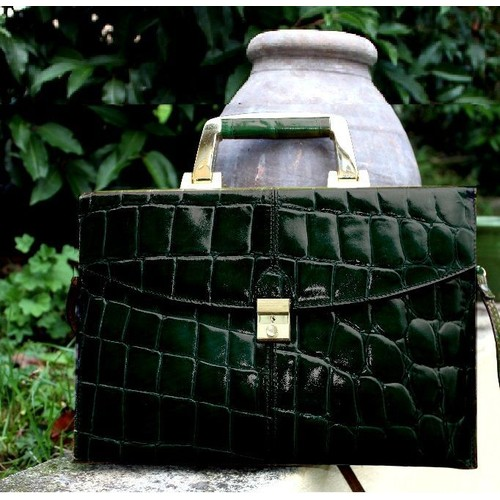 9e86572e62 Cartable Sudhaus Port Document Cuir Noir Vert Fonce Sac Main Bagage Made  Italy Poignee Metal Laiton Or Sangle Serviette Bandouliere ...