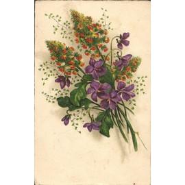 carte ancienne bouquet de fleurs avec des violettes achat et vente. Black Bedroom Furniture Sets. Home Design Ideas