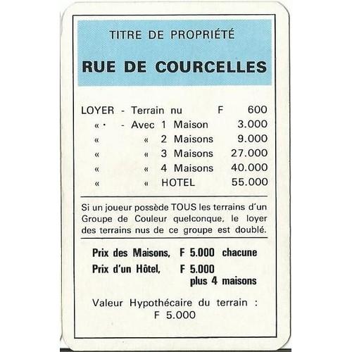 Rue De Courcelles Monopoly