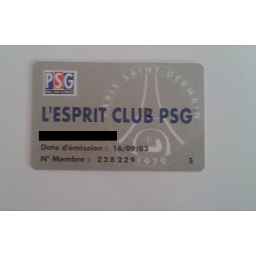 carte de supporter l 39 esprit club psg 2003 neuf et d 39 occasion. Black Bedroom Furniture Sets. Home Design Ideas