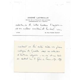 Carte De Visite Avec Manuscrit Recto Verso Andr Latreille Doyen La Facult Des Lettres Delyon