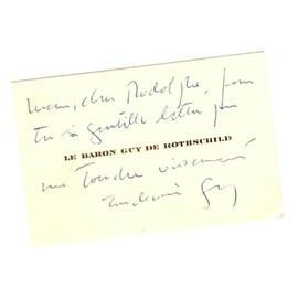 Carte De Visite Avec Mot Remerciement Autographe Par Le Baron Guy Rothschild